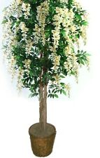 Artificial 6' Wisteria Tree Plant Topiary Palm Flower Floral Basket Arrangement