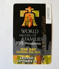 One Day Papal Train Pass Pope World Meeting Philadelphia Souvenir Ticket NEW
