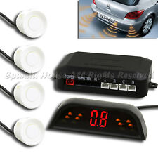 1X AFTER MARKET WIRELESS PARKING BACKUP REVERSE SENSOR RADAR KIT 4PC WHITE LED