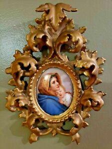 MHR/KPM Style Porcelain  Wagner Madonna Ferruzi Mini Plaque Carved Gilt Frame