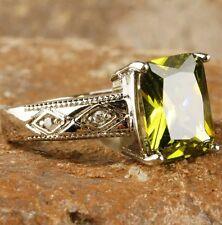 Size:8:Q  Emerald Cut Peridot & White Topaz  Gemstone Silver Ring.  UK STOCK