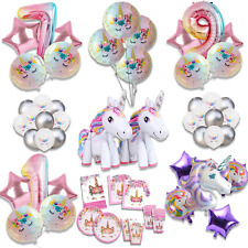Rainbow Unicorn Balloons Birthday Party Decorations Princess Girl Foil Numbers