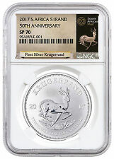 2017 South Africa 1 oz. Silver Krugerrand NGC SP70 (Exclusive Label) SKU46161