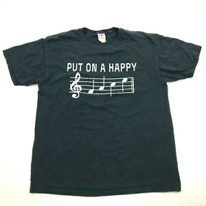 Put On A Happy Song Shirt Size Large L Adult Loose Fit Black Funny Graphic Tee