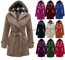 NEW WOMENS BELTED BUTTON COAT NEW LADIES HOODED MILITARY JACKET PLUS SIZE 6-20