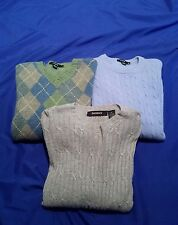 Lot of 3 J. Crew Bachrach Men's Silk Cashmere LambsWool Blend Cable Sweaters M