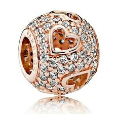Genuine Rose Gold PANDORA TUMBLING HEARTS Charm - 781426CZ ALE R