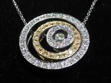 White & Yellow Diamond 0.75ct Floating Halo Pendant 14ct White Gold Necklace Box