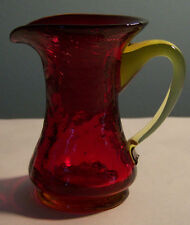 """Small Red Yellow Amberina Crackle Art Glass Pitcher Vase 3 1/4"""""""