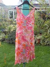 CHIC NEW PER UNA PINK, ORANGE, TURQUOISE, WHITE FLORAL FLOATY DRESS, SIZE 12