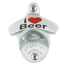"""I love beer"" wall mounted bottle opener & chrome look plastic cap catcher bar"