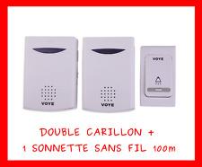 DOUBLE 2 CARILLON + 1 SONNETTE SANS FIL 100m ETANCHE EXTERIEUR MAISON GRATUIT