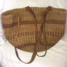 Jute Woven Bag Purse Round Brown Red Tote Beach Travel