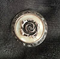Vintage Midcentury Mother of Pearl Scarf Clip rose