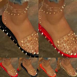 Roman Sandals Rivet Flat Women Shoes Ankle Strap Buckle Transparent Clear Sandal