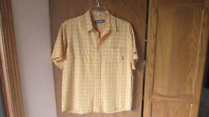 Billabong Boys Gold Plaid Collared Button Casual Shirt XL