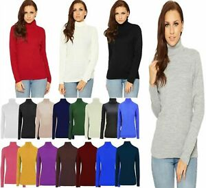 New Womens High Roll Neck Fine Jumper Sweater Long Sleeve Polo Ribbed Top