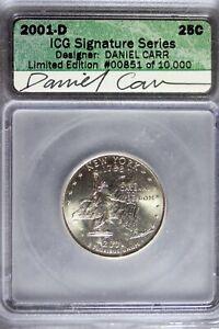 2001 - D ICG SIGNATURE SERIES DANIEL CARR New York State Quarter! #B24889