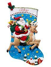 "Bucilla Reindeer Santa 18"" Christmas Stocking Felt Applique Kit, 86816"