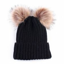 Winter Outdoor Women's Warm Chunky Knit With Double Fur Pom Pom Cute Beanie Hat