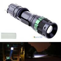 6000 Lumen Zoomable CREE XM-L Q5 LED Flashlight Focus Torch Lamp Light Black MT