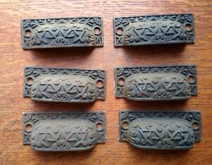 "Six Antique Fancy Iron Victorian Drawer Pulls ""Windsor"" by Reading c1885"