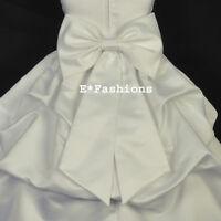 IVORY SATIN TIE BOW SASH FOR WEDDING FLOWER GIRL DRESS sz S M L 2 4 6 8 10 12 14