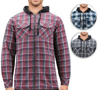 Tony Hawk Men's Casual Flannel Zip Up Plaid Sherpa Hoodie Lightweight Jacket