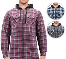 Tony Hawk Men's Casual Flannel Zip Up Plaid Sherpa Hoodie Lightweight Jacket