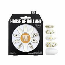 House of Holland Elegant Touch What a Stud White and Gold Studded Nails