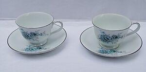 Vintage Noritake Tea Cup And Saucer x 2 1960's Sonnet Design with Platinum trim