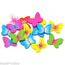 BE 70PCs Wooden Loose Beads Charm Butterfly Pattern Mixed 20mm x15mm NEW