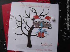 HANDMADE PERSONALISED CHRISTMAS CARD - CUTE OWLS, GEMS, POMPOMS, RIBBON
