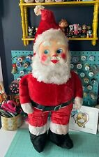 Vintage Santa With Plastic Face Stands About 28� Tall