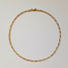 NEW Genuine 9ct 9k Yellow Solid Gold Bevelled Diamond Cut Figaro 1.1 Anklet