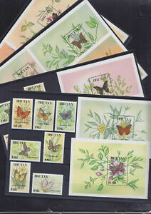 Bhutan Butterflies stamps 12 Miniature Sheets + 12v stamps year 1990 MNH V.F