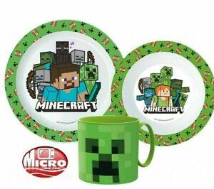 MINECRAFT  3 pcs Dinner Set Plate Bowl Cup New