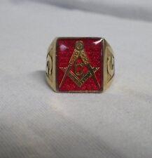 10K 417 Yellow Gold Masonic Ring Red Mason Compass Size 10-1/2
