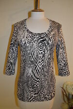 Animal Print Semi Fitted Scoop Neck 3/4 Sleeve Women's Tops & Shirts