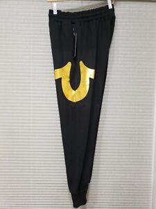True Religion Men's Gold Logo Jogger Lounge Pants-Black
