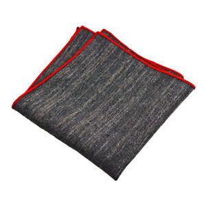 Men Solid Color Linen Cotton Pocket Square Hanky Wedding Business Handkerchief