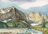 Naturalist Alpenpanorama mit Flusslauf - Ölgemälde - Natur 50 x 70 cm