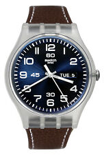 Swatch SUOK701 Daily Friend Blue Day Date Dial Brown Leather Unisex Watch NEW