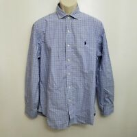 Polo Ralph Lauren Mens Button Up Shirt Large Blue Plaid Cotton Spread Collar