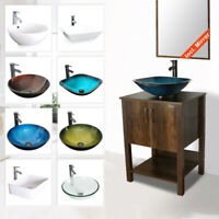 "24"" Bathroom Vanity Cabinet W/ Mirror Vessel Sink Faucet Drain Combo Brown"