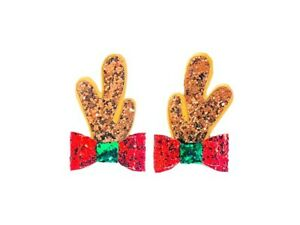 """Dog Hair Bows- 1.4"""" x 2.2"""" Christmas Reindeer Antlers Pet Bow Pigtails Rudolph"""
