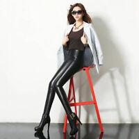 Frauen Stretchy Faux Leder Hose Skinny Hohe Taille Leggings Bleistift Hos-b A3Z2