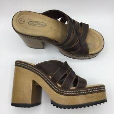 Lower East Side Womens 7 90s Vtg Brown Chunky Platform Open Toe Sandals Heels