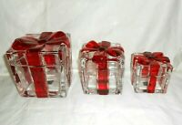 Circleware Crystal Set of 3 Glass Gift Boxes Red Ribbon Canisters NIB w2s22