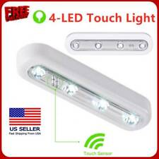 Cordless 4-LED Under Cabinet Push Tap Touch Stick On Night Light Lamps Batteries